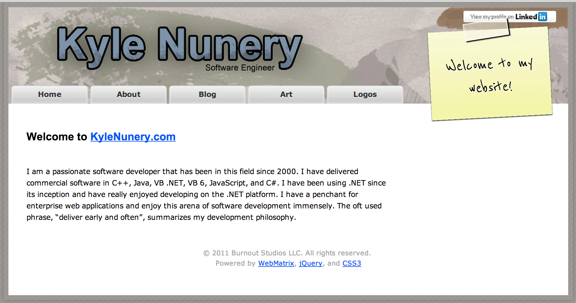 Kyle Nunery website original design